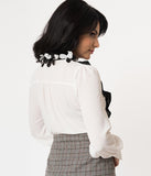 White & Black Ruffle Floral Collar Button Up Blouse