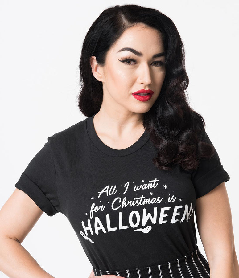 Unique Vintage Black All I Want For Christmas Is Halloween Unisex Tee