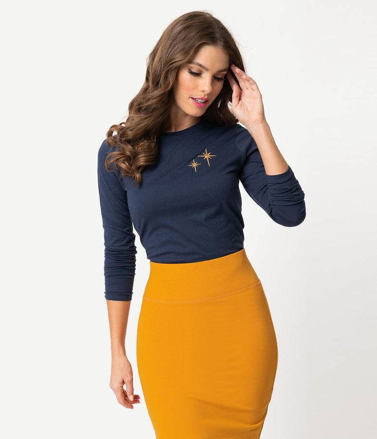 Whosits and Whatsits Exclusive Navy Blue & Gold Second Star Long Sleeve Women's Tee