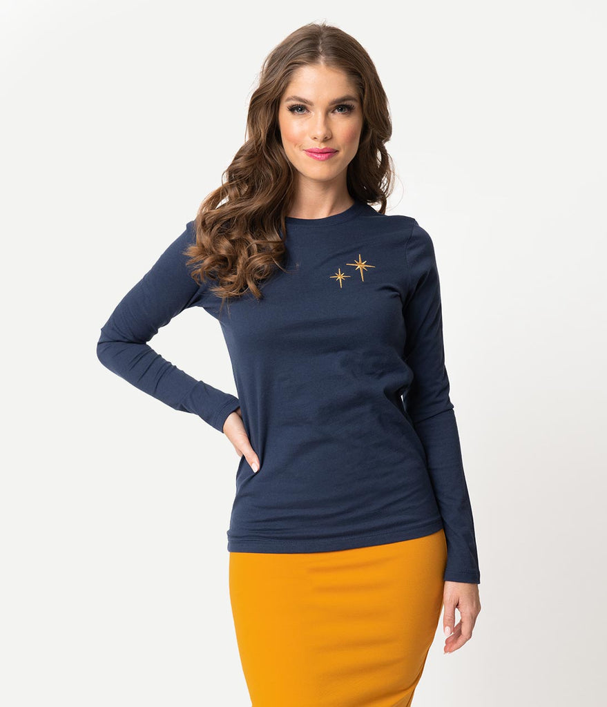7b75d215235 ... Whosits and Whatsits Exclusive Navy Blue   Gold Second Star Long Sleeve  Women s Tee