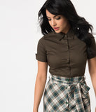 Retro Style Olive Short Sleeve Collared Button Up Cotton Blouse