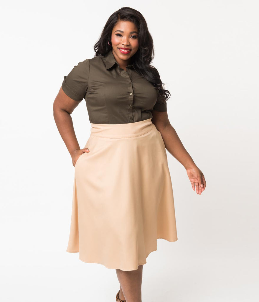 Plus Size Retro Style Olive Short Sleeve Collared Button Up Cotton Blouse