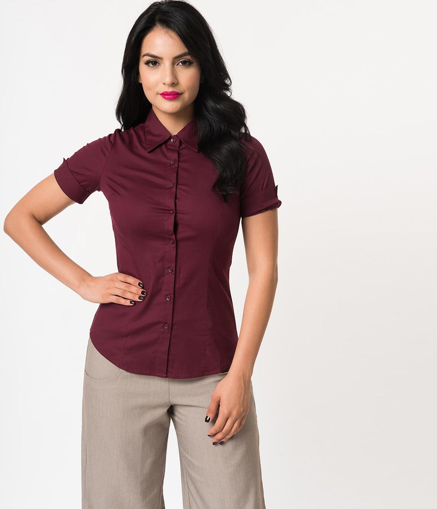 Retro Style Wine Short Sleeve Collared Button Up Cotton Blouse
