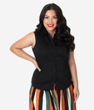 Plus Size Black Sleeveless Collared Button Up Blouse
