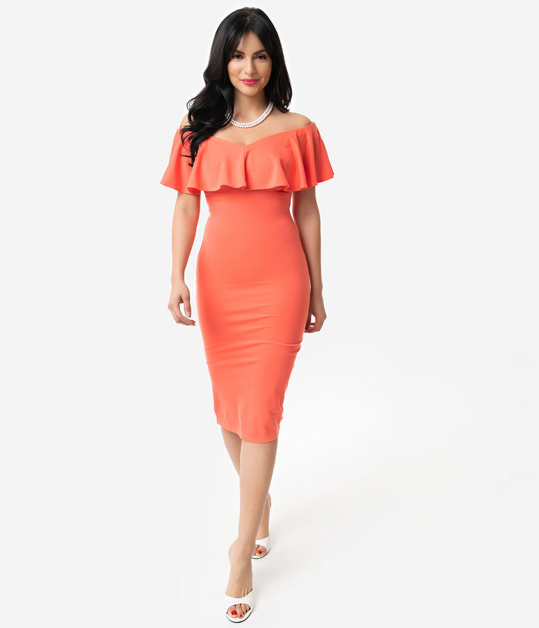 Unique Vintage + Pantone Living Coral Knit Ruffle Sophia Wiggle Dress
