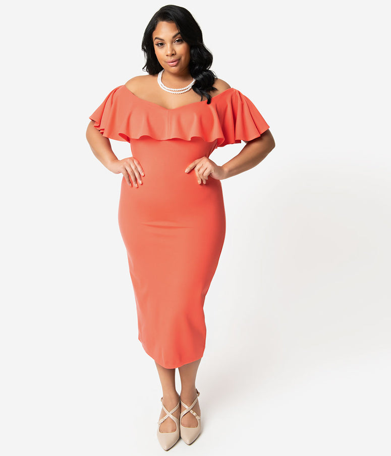 Unique Vintage + Pantone Plus Size Living Coral Knit Ruffle Sophia Wiggle Dress