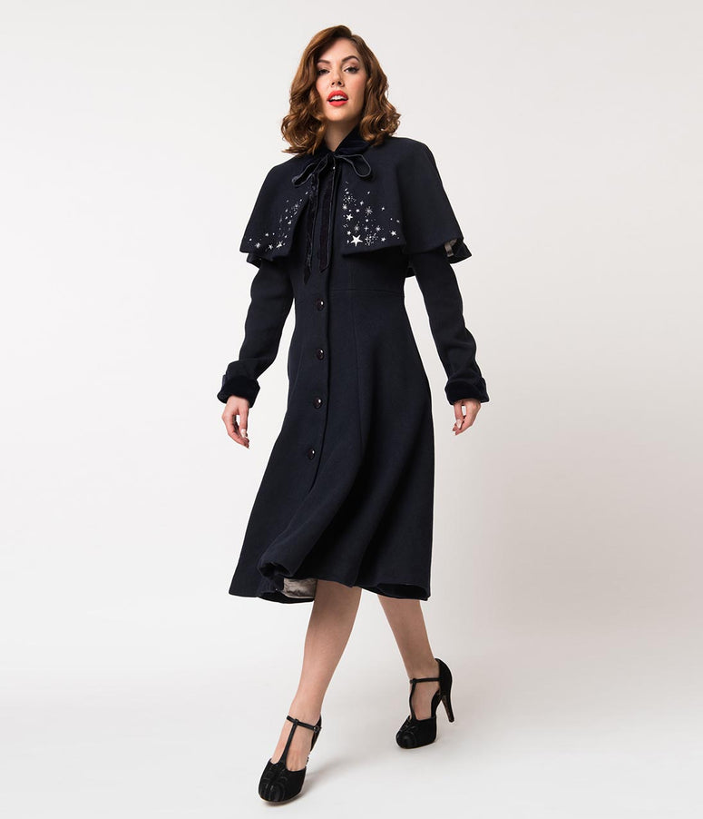Collectif Navy Blue Wool & Silver Stars Claudia Coat & Cape