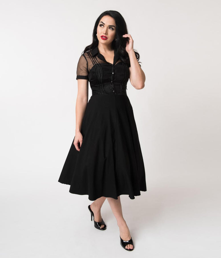 Unique Vintage 1950s Black Stretch Sheer Button Roz Swing Dress