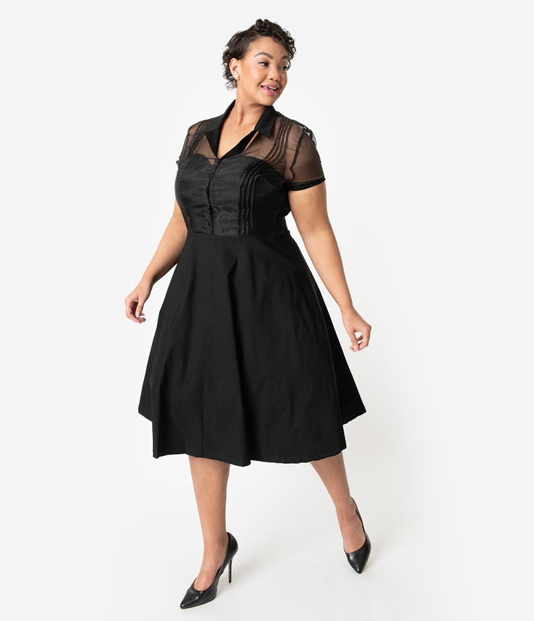 Unique Vintage Plus Size 1950s Black Stretch Sheer Button Roz Swing Dress