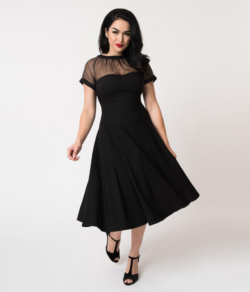Unique Vintage 1950s Black Stretch Sheer Bodice Shirelle Swing Dress