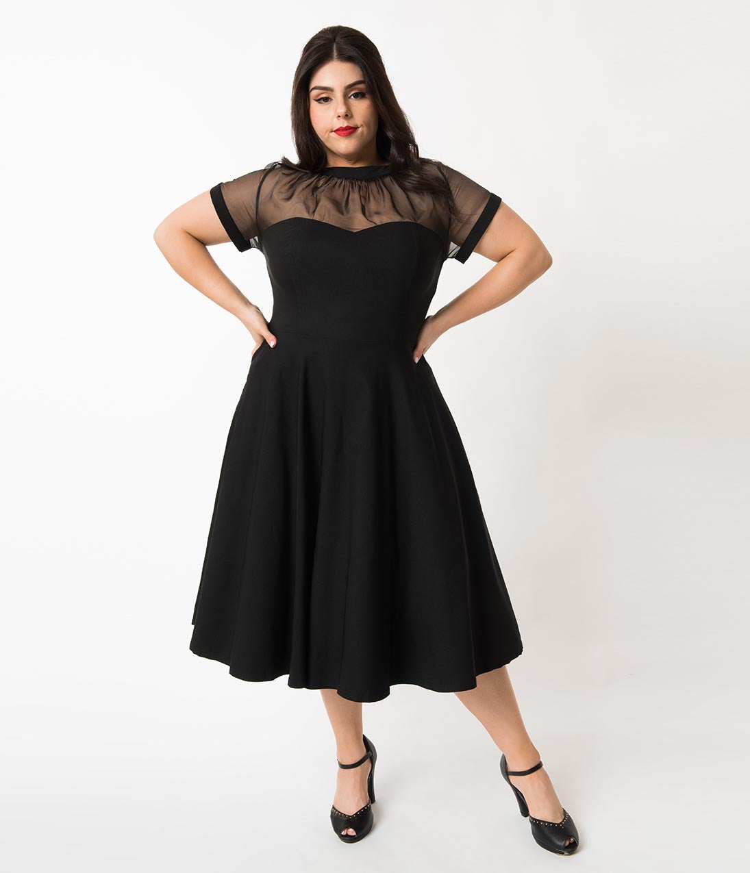 1950s Dresses, 50s Dresses | 1950s Style Dresses Unique Vintage Plus Size 1950S Black Stretch Sheer Bodice Shirelle Swing Dress $78.00 AT vintagedancer.com