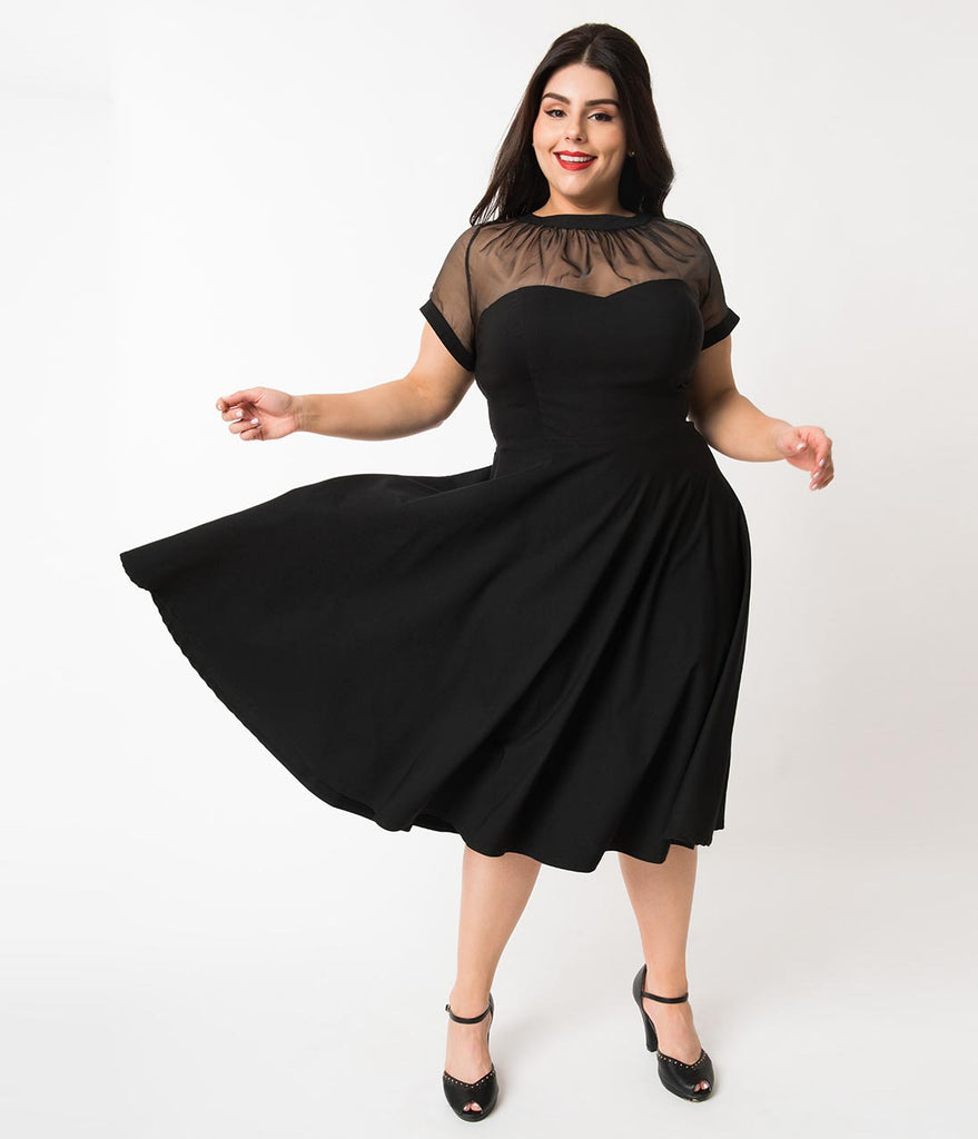 Unique Vintage Plus Size 1950s Black Stretch Sheer Bodice Shirelle Swing Dress
