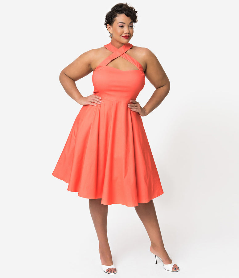 Unique Vintage + Pantone Plus Size 1950s Style Living Coral Rita Halter Flare Dress
