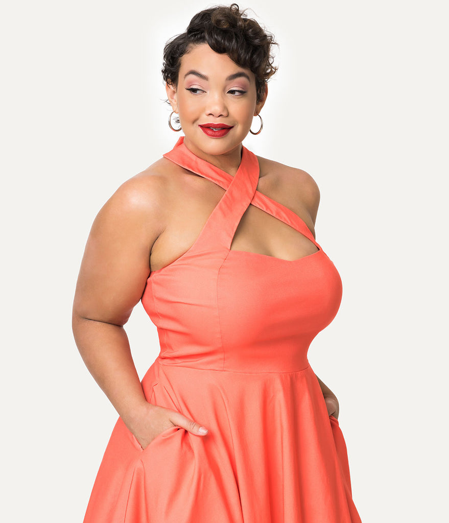 ... Unique Vintage + Pantone Plus Size 1950s Style Living Coral Rita Halter  Flare Dress ... 1754a0f51