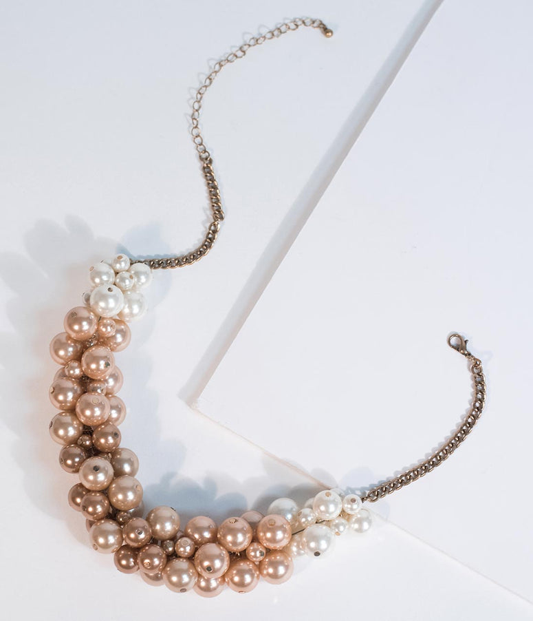 Ivory & Rose Beaded Pearl Plastron Necklace