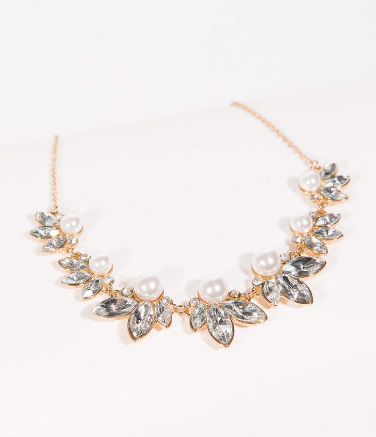 Deco Style Gold & Silver Rhinestone Pearl Necklace