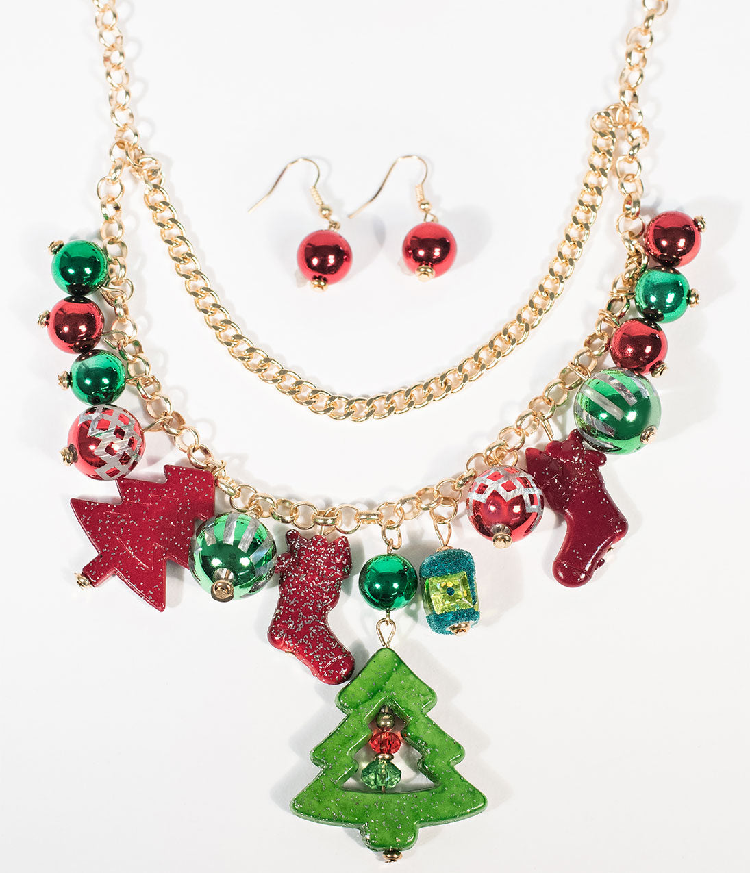 Vintage Christmas Dress | Party Dresses | Night Out Outfits Red  Green Ugly Christmas Necklace  Earrings $18.00 AT vintagedancer.com