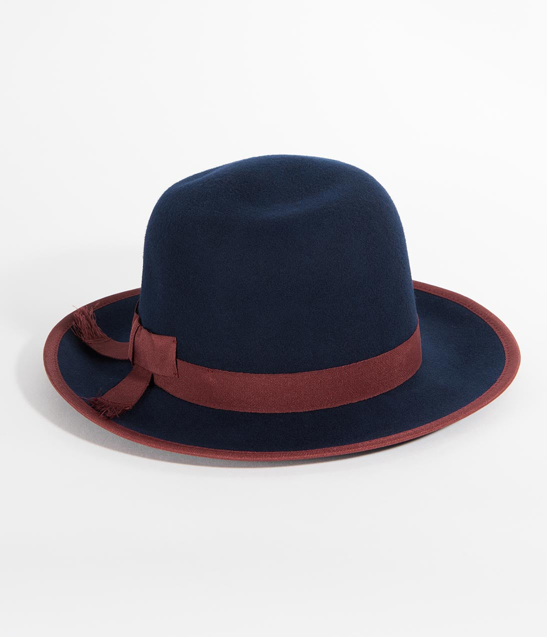 1940s Hats History Navy  Burgundy Wool Bowler Hat $42.00 AT vintagedancer.com