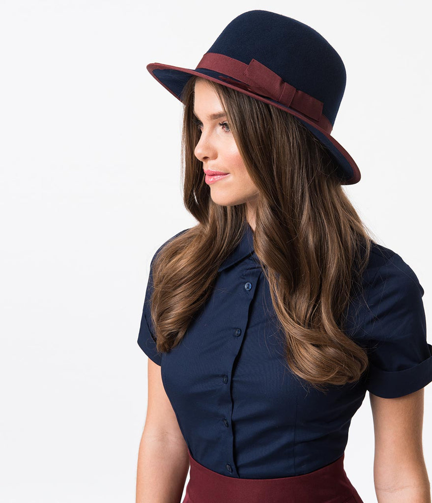 Navy & Burgundy Wool Bowler Hat