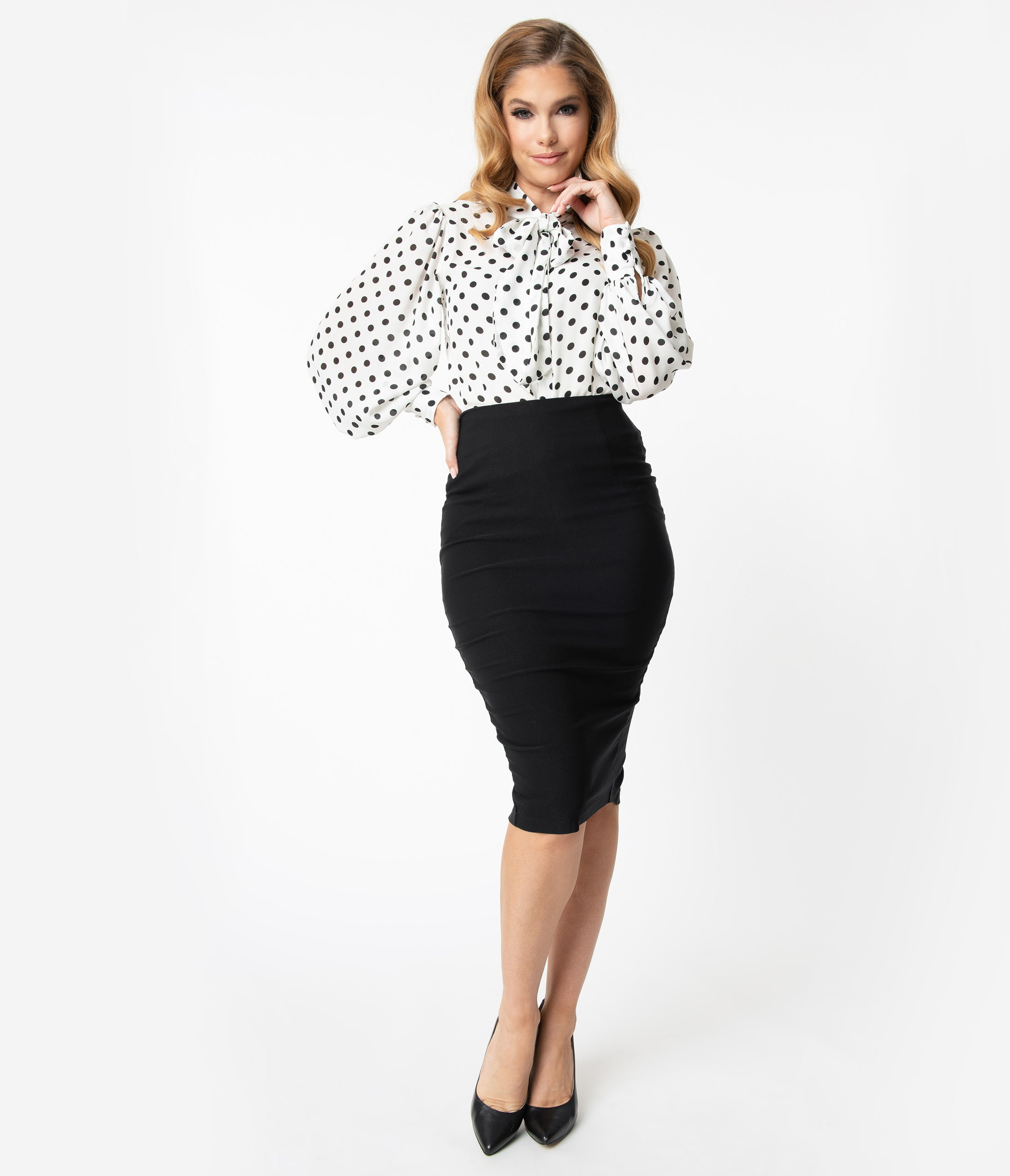 1950s Style Clothing & Fashion Unique Vintage Black Stretch High Waist Tracy Wiggle Skirt $48.00 AT vintagedancer.com