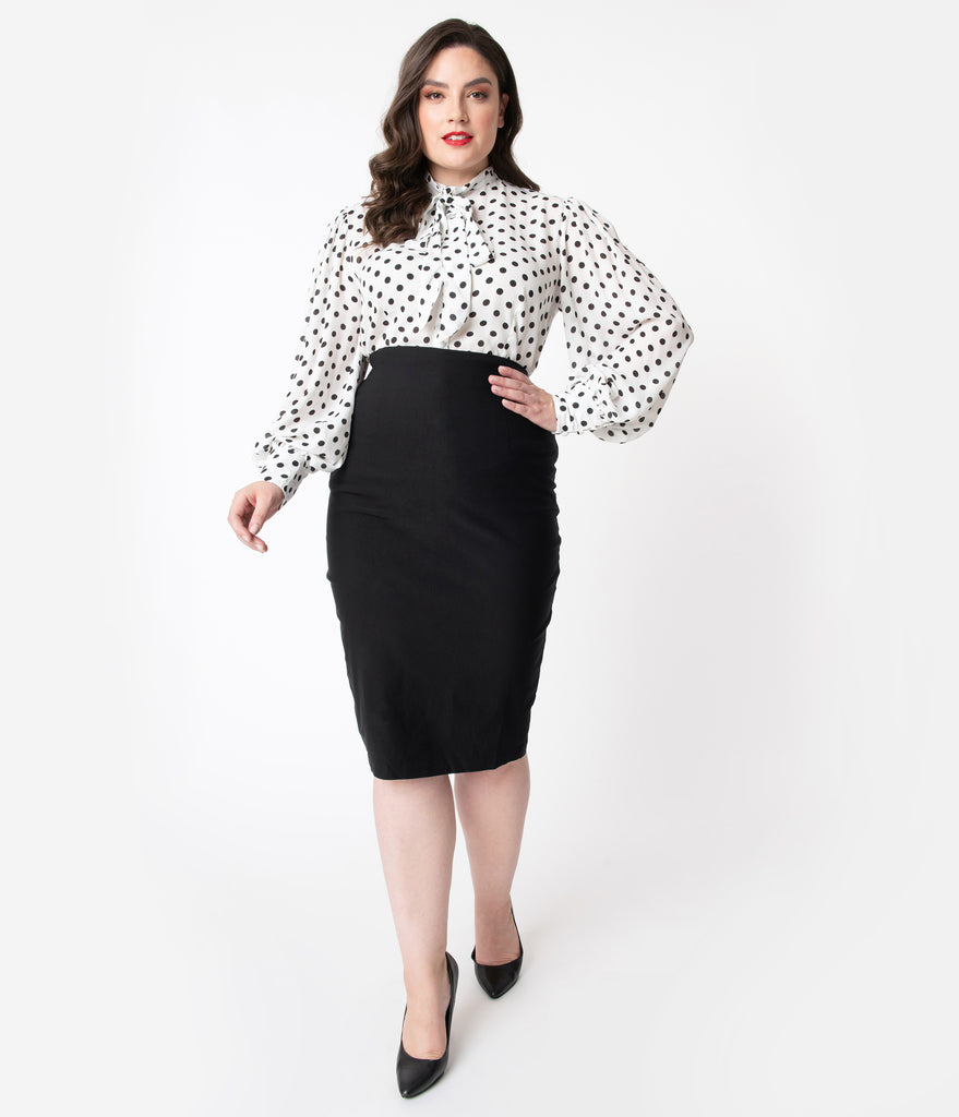 Unique Vintage Plus Size Black Stretch High Waist Tracy Wiggle Skirt