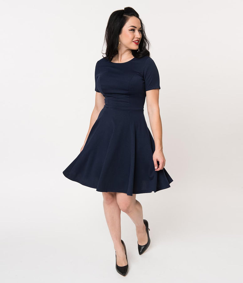Unique Vintage Navy Blue Short Sleeve Margot Fit & Flare Dress