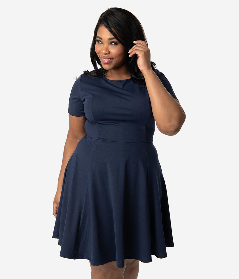 Unique Vintage Plus Size Navy Blue Short Sleeve Margot Fit & Flare Dress