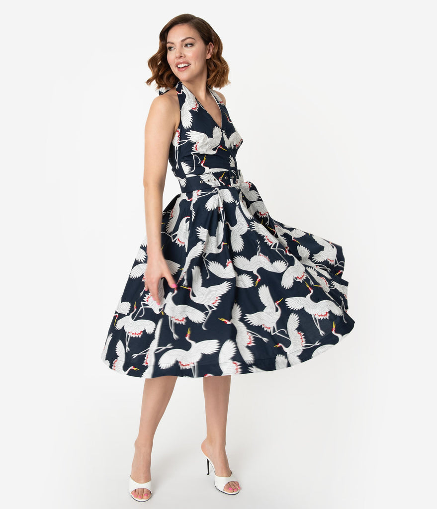 Unique Vintage Navy & White Crane Print Halter Tarrytown Hostess Dress