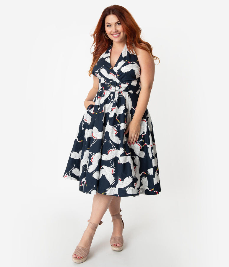 374cb75749e5 Unique Vintage Plus Size Navy & White Crane Print Halter Tarrytown Hostess  Dress
