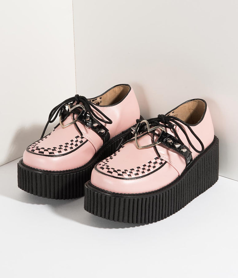 Light Pink Leatherette & Black Spiked Heart Creeper