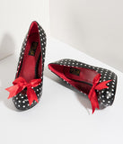 Black & White Polka Dot Leatherette Cutie Pie Pumps