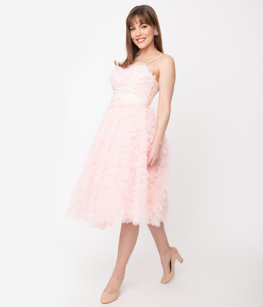 Unique Vintage 1950s Pale Pink Ruffled Tulle Sweetheart Cupcake Swing Dress