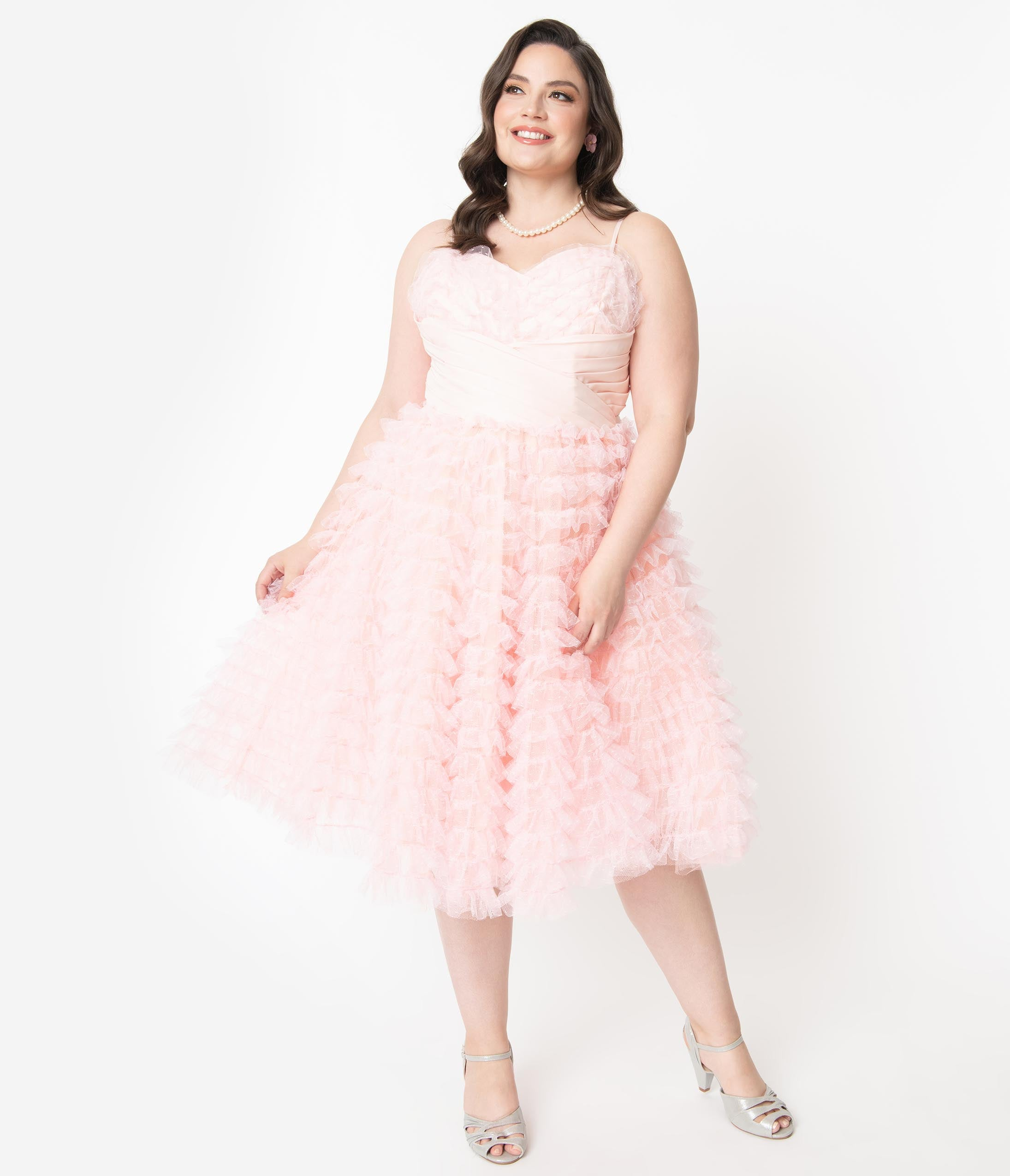 Vintage Evening Dresses and Formal Evening Gowns Unique Vintage Plus Size 1950S Pale Pink Ruffled Tulle Sweetheart Cupcake Swing Dress $110.00 AT vintagedancer.com