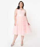 Unique Vintage Plus Size 1950s Pale Pink Ruffled Tulle Sweetheart Cupcake Swing Dress