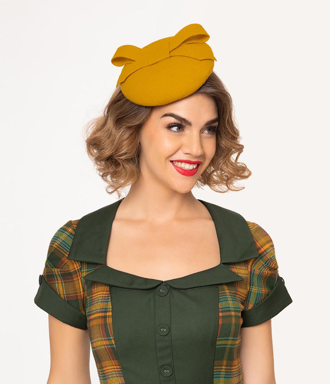 1950s Women's Hat Styles & History Vintage Style Mustard Yellow Bow Round Fascinator $90.00 AT vintagedancer.com