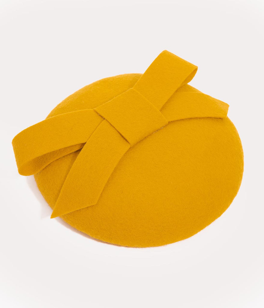 Vintage Style Mustard Yellow Bow Round Fascinator