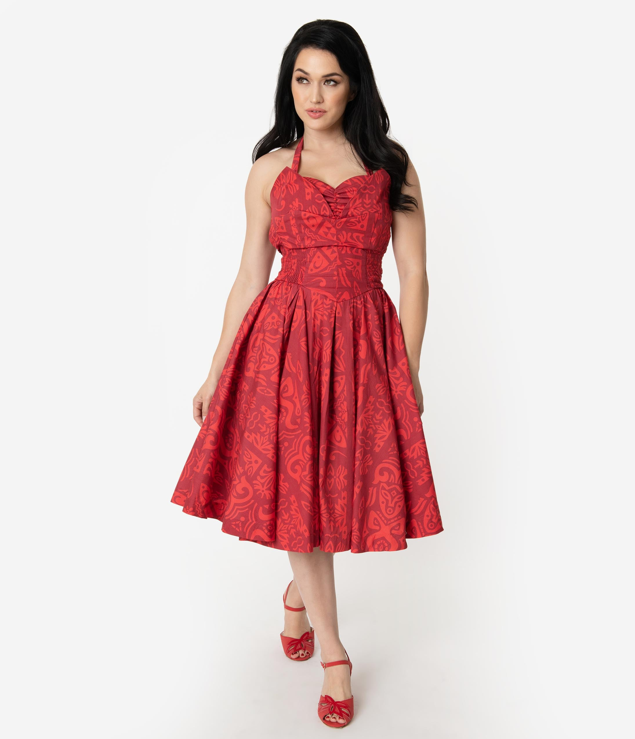 New Fifties Dresses | 50s Inspired Dresses Alfred Shaheen Red Tiki Pareau Print Hawaiian Swing Dress $126.00 AT vintagedancer.com