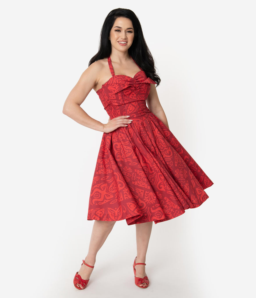 Alfred Shaheen Red Tiki Pareau Print Hawaiian Swing Dress