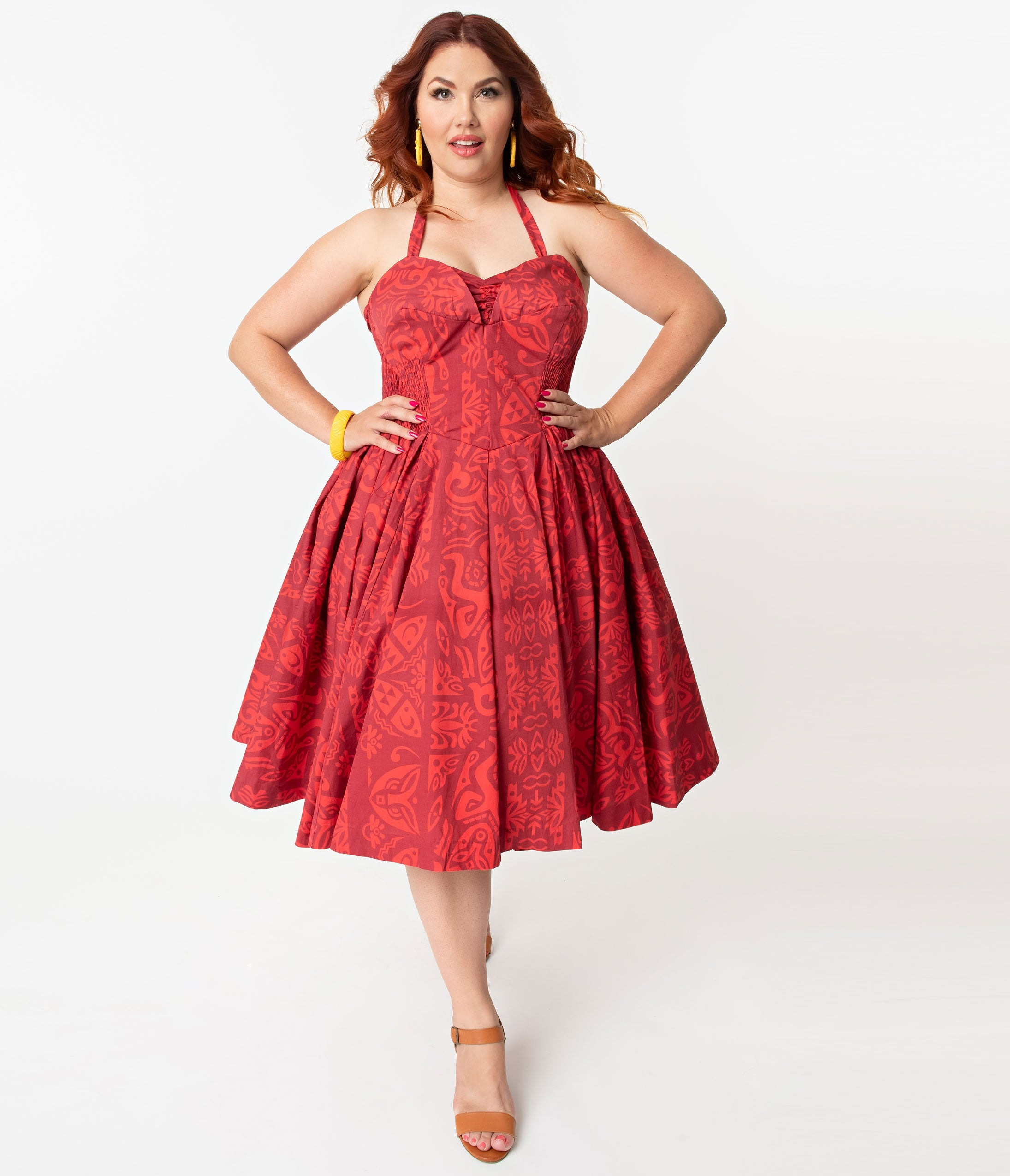 New Fifties Dresses | 50s Inspired Dresses Alfred Shaheen Plus Size Red Tiki Pareau Print Hawaiian Swing Dress $126.00 AT vintagedancer.com