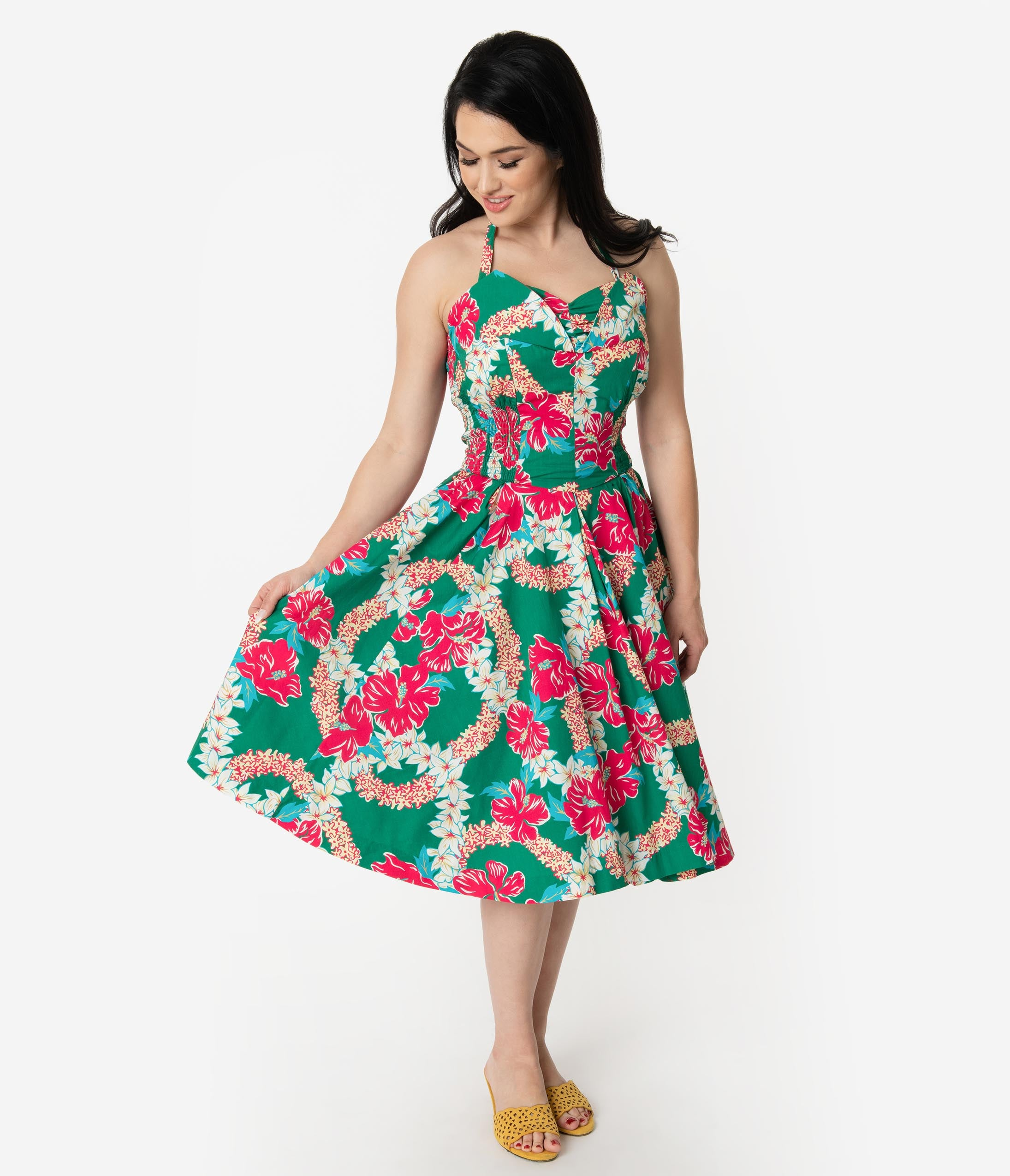 New Fifties Dresses | 50s Inspired Dresses Alfred Shaheen Green  Pink Mala Pua Hibiscus Lei Print Hawaiian Swing Dress $107.00 AT vintagedancer.com