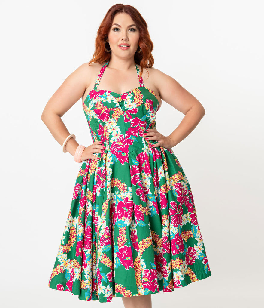 Alfred Shaheen Plus Size Green & Pink Mala Pua Hibiscus Lei Print Hawaiian Swing Dress
