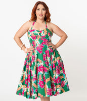 Plus Size Halter Sweetheart Shirred Pleated Gathered Floral Print Swing-Skirt Dress