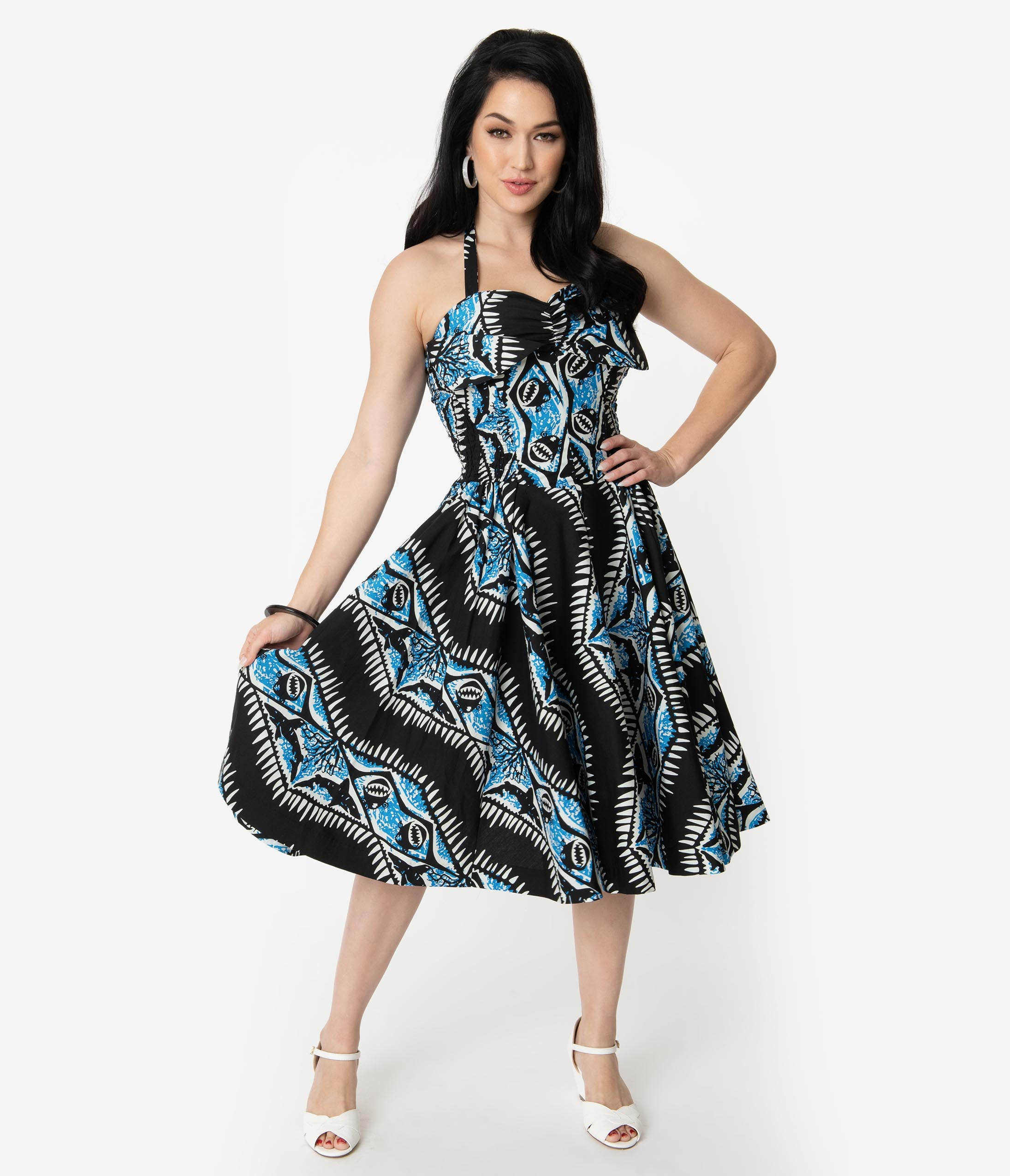 a8fe2e596 Retro Tiki Dress – Tropical, Hawaiian Dresses Alfred Shaheen Black Blue  Shark Print Hawaiian Swing