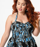 Alfred Shaheen Plus Size Black & Blue Shark Print Hawaiian Swing Dress