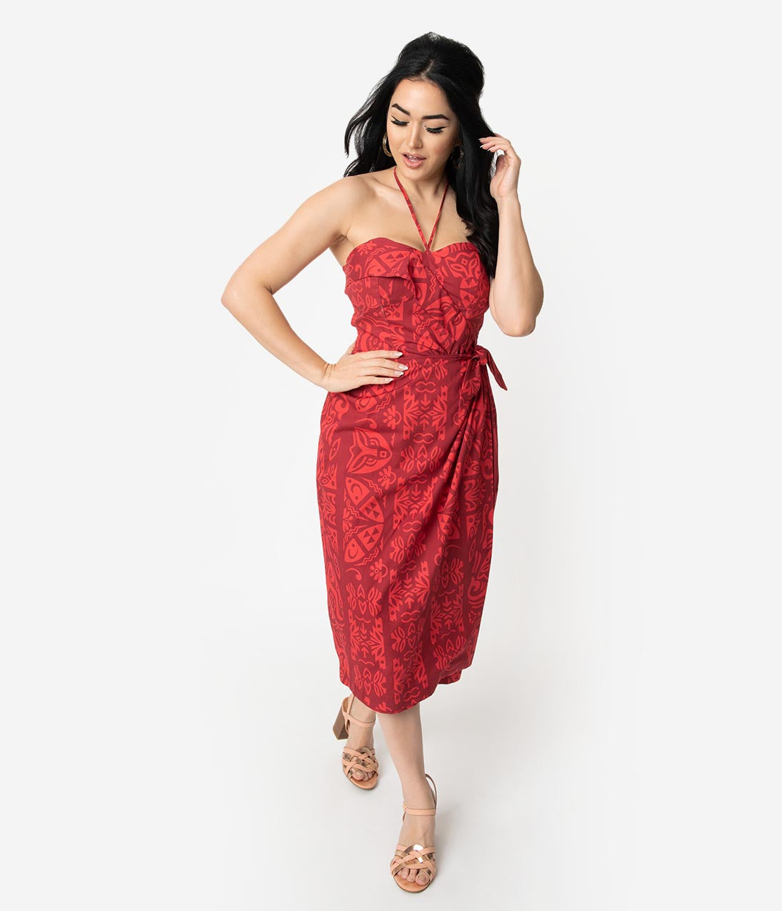New Fifties Dresses | 50s Inspired Dresses Alfred Shaheen Red Tiki Pareau Print Sarong $82.00 AT vintagedancer.com
