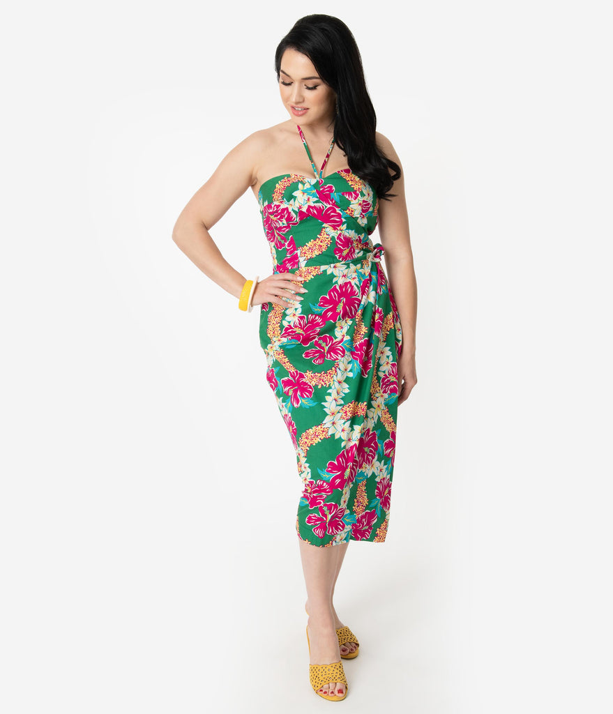 8a967bf372a Alfred Shaheen Green   Pink Mala Pua Hibiscus Lei Print Sarong – Unique  Vintage