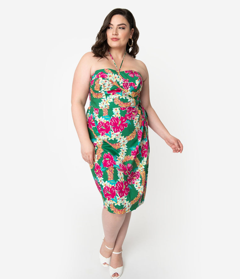 Alfred Shaheen Plus Size Green & Pink Mala Pua Hibiscus Lei Print Sarong