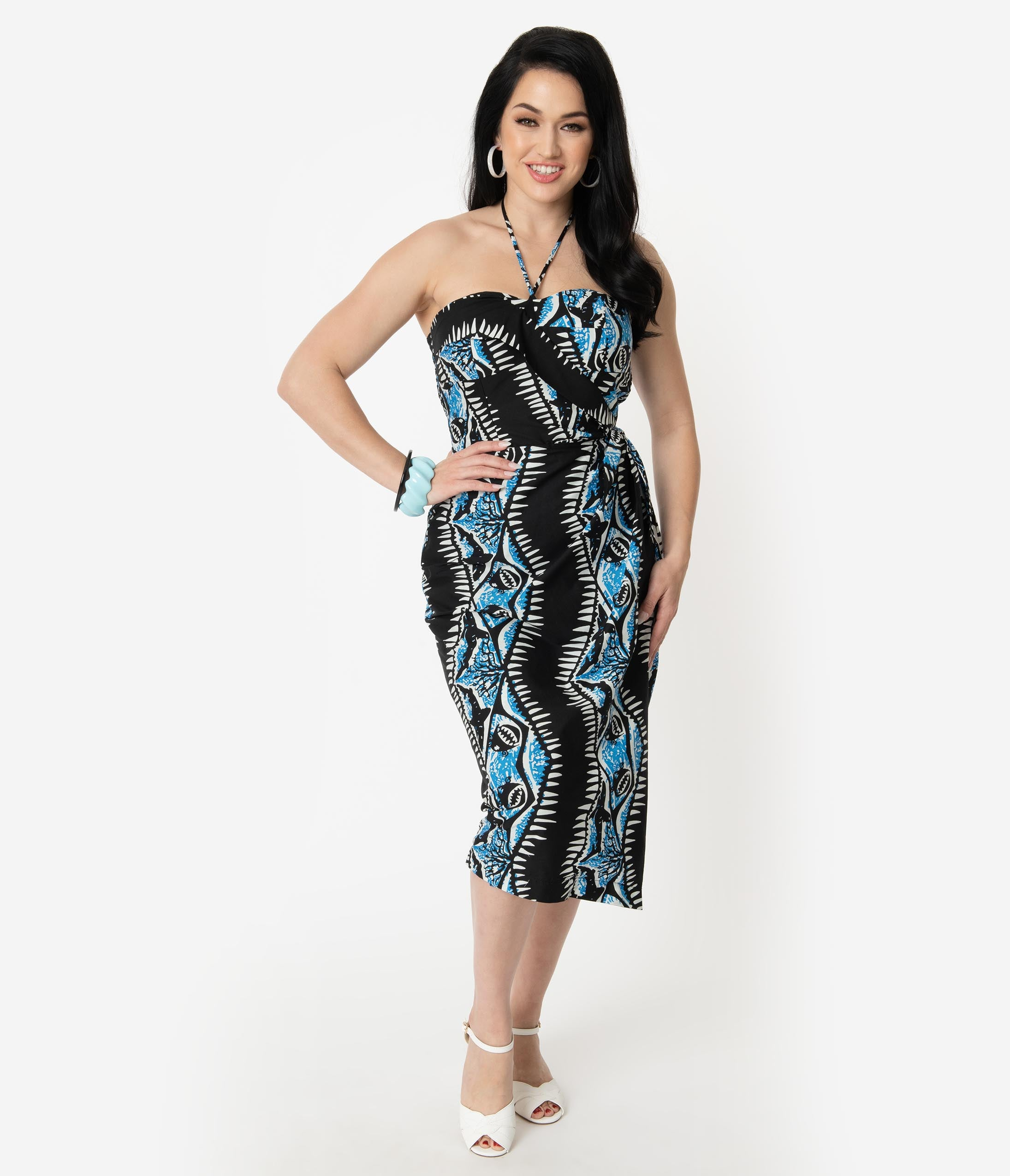 New Fifties Dresses | 50s Inspired Dresses Alfred Shaheen Black  Blue Shark Print Sarong $89.00 AT vintagedancer.com