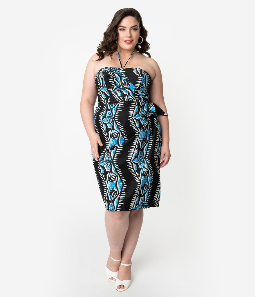 Alfred Shaheen Plus Size Black & Blue Shark Print Sarong