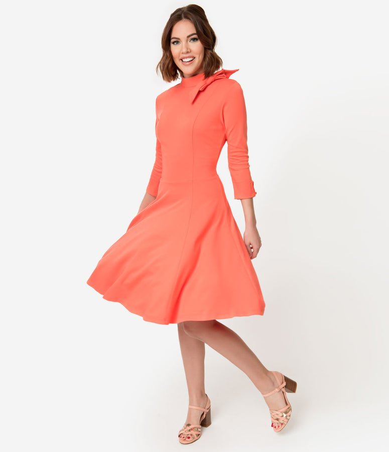 Unique Vintage + Pantone Living Coral Knit Parker Flare Dress